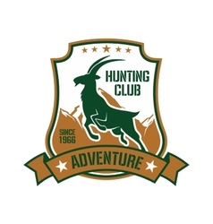 Hunting badge for sporting club design with goat vector