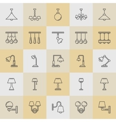 Lamp line icons set vector image