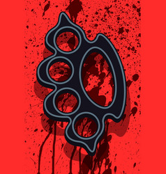 Lead knuckleduster on abstract background vector