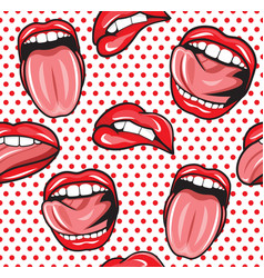 Lips pop art seamless pattern1 vector image