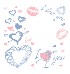 Love doodle romantic background vector