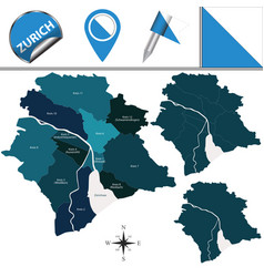 Map of zurich with subdivisions vector