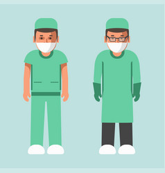 Medical workers in uniform and masks isolated vector