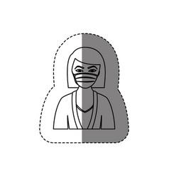 Monochrome contour sticker with half body of nurse vector