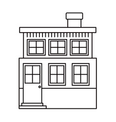 Monochrome silhouette house of two floors and vector