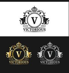 monogram logo template luxury letter vector image vector image