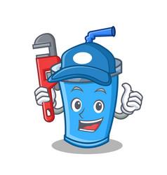 Plumber soda drink character cartoon vector