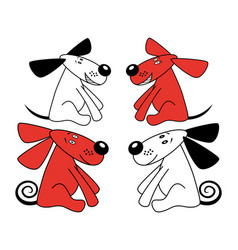 Red and white amusing dogs vector
