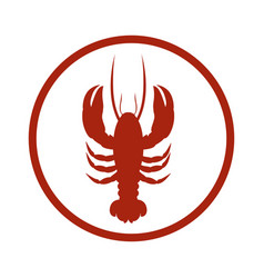 red circular border with silhouette lobster vector image vector image