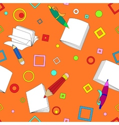School notes seamless pattern on orange background vector