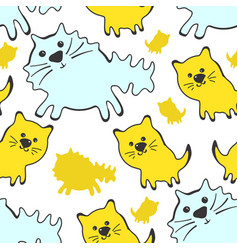 seamless pattern with cute cats on a white vector image vector image