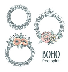 Set of ornamental boho style frames with flowers vector