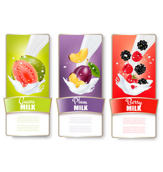 set of three labels of fruit in milk splashes vector image vector image