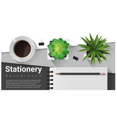 stationery scene with office equipment background vector image vector image