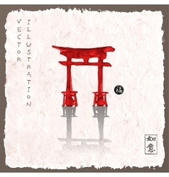 Torii gates hand-drawn with ink vector