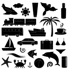 Travel and vacation silhouette icon set vector image