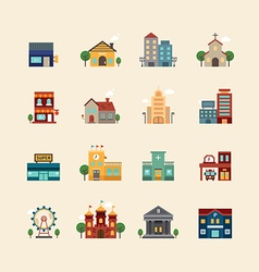 Web flat icons set - buildings collection vector