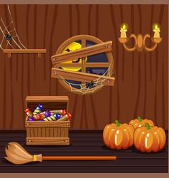Wooden house cellar halloween symbols vector