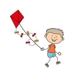 Boy cartoon kite happy isolated design vector