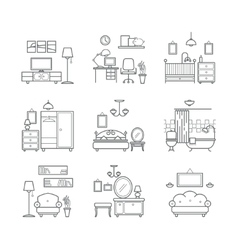Home room icons set interior design room types vector