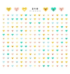 Great set of 210 color emotions isolated on white vector