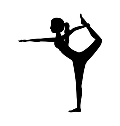Silhouette yoga woman lord of the dance pose two vector