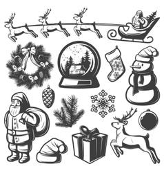 Christmas Monochrome Elements Set vector image