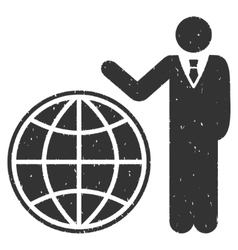 Planetary manager icon rubber stamp vector