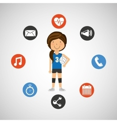 Sport girl volleyball player graphic vector