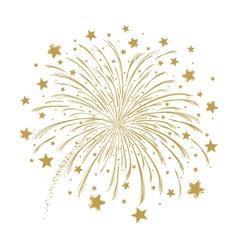 gold firework on white background vector image