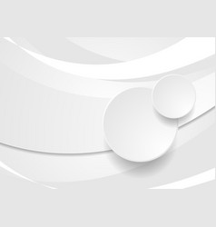Grey white wavy background with circles vector
