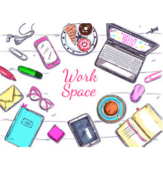 Work laptop top view poster vector