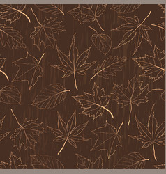 autumn seamless pattern with outline leaves vector image