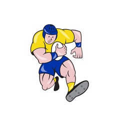 Rugby Player Running Charging Cartoon vector image