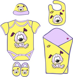 Cute baby layette with cute puppy - vector