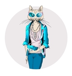 Fashion of cat girl dressed up in vector image