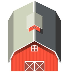 Red barn with gray roof vector