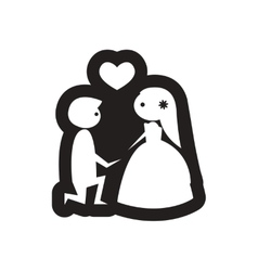 Flat icon in black and white bride and groom vector