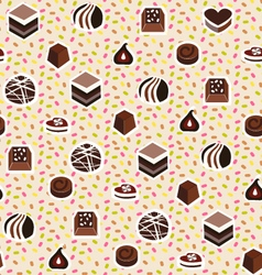 Sweet pattern assortment of chocolates candy vector