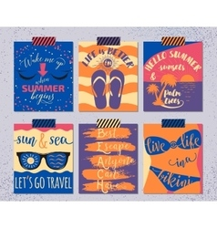 Set of retro summer cards beautiful vector