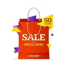 Sale label paper bag vector