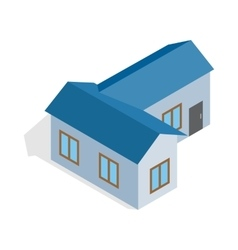 Blue house icon isometric 3d style vector