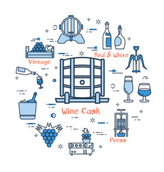 Blue round wine cask concept vector