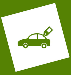 Car sign with tag white icon obtained as vector