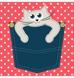 Cat in pocket vector image vector image