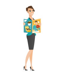 Caucasian business woman reading magazine vector