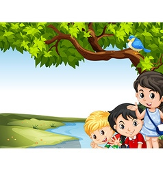 Children hanging out at the river vector image vector image