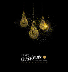Christmas and new year gold glitter lightbulb card vector