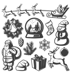 Christmas Monochrome Elements Set vector image vector image