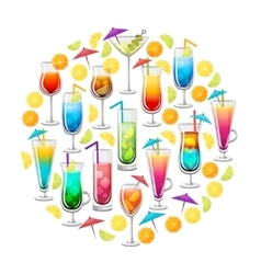 Classic Alcohol Cocktails Round Design vector image
